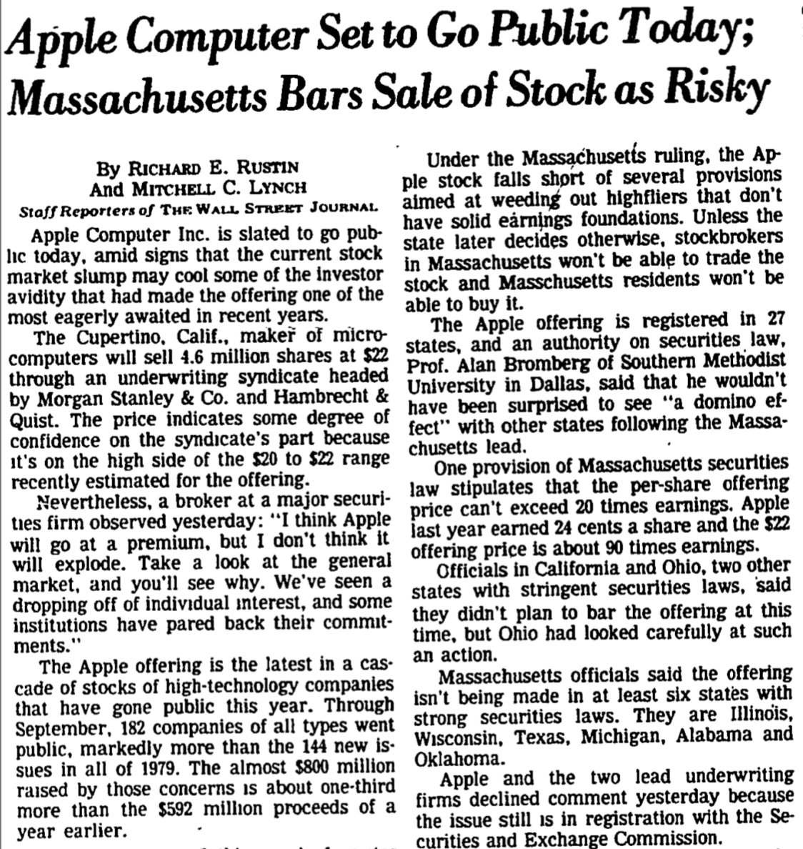 Apple went public 38 years ago today, on 12/12/80. Those MA residents barred from buying the stock (too risky!) probably wish they&#39;d had the opportunity; the value of one share bought at the $22 IPO price now would be (after multiple stock splits) more than $10K. #regrets<br>http://pic.twitter.com/OhODXun8T5