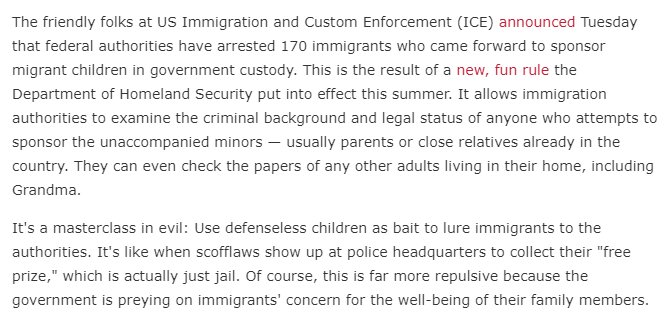 The Trump gov't put out a call, asking legal immigrants to sponsor some of the 1,000's of kids in cages. Desperate to help, 170 kind ppl stepped up, hoping to finally free the kid from captivity.  Turns out, it was a sting operation. Then came the arrests. https://www.wonkette.com/totally-non-evil-ice-arrests-170-immigrants-trying-to-free-kids-from-baby-jails …