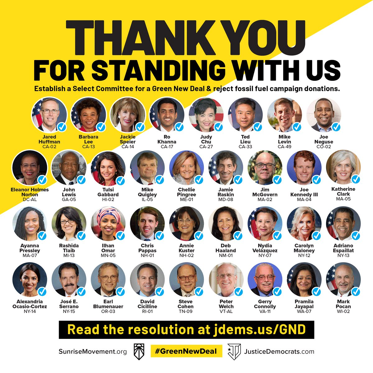 THIRTY FIVE Representatives now support the Select Committee on a #GreenNewDeal. 36 hours ago, that number was 22. Our movement has momentum, but we also have only a few more days to #SealTheDeal. Visit your local Rep before Congress closes on Friday: docs.google.com/forms/d/e/1FAI…