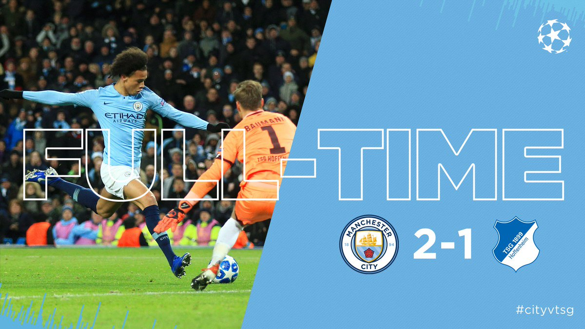 FULL-TIME | Sensational @LeroySane19 steers us into the last 16 as Group F winners! GET IN! 🔵 2-1 🔴 #cityvtsg #mancity