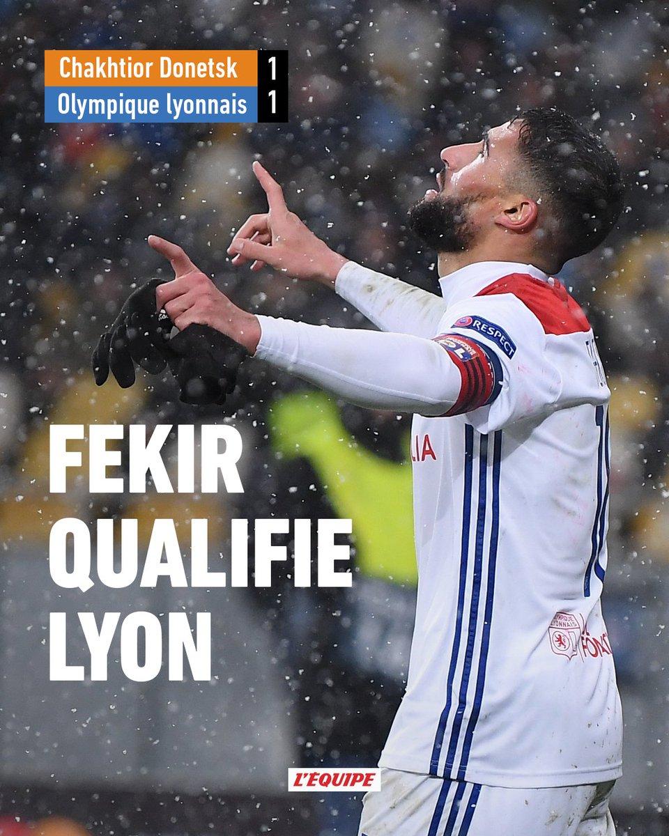 Lyon est la dernière équipe qualifiée pour les 8es de finale de la Ligue des champions grâce à son match nul 1-1 face au Chakhtior Donetsk. Revivre le match 👉 ow.ly/9Ega30mXTxx