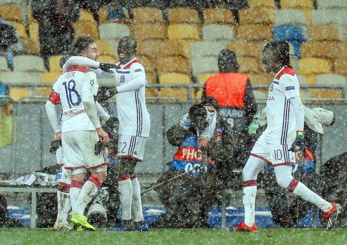Celebración de los jugadores del Lyon.