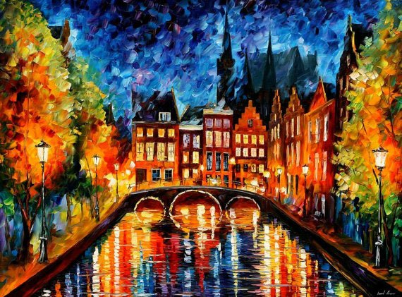 Amsterdam - Canal - Palette Knife Oil Painting On Canvas By Leonid Afremov Foto