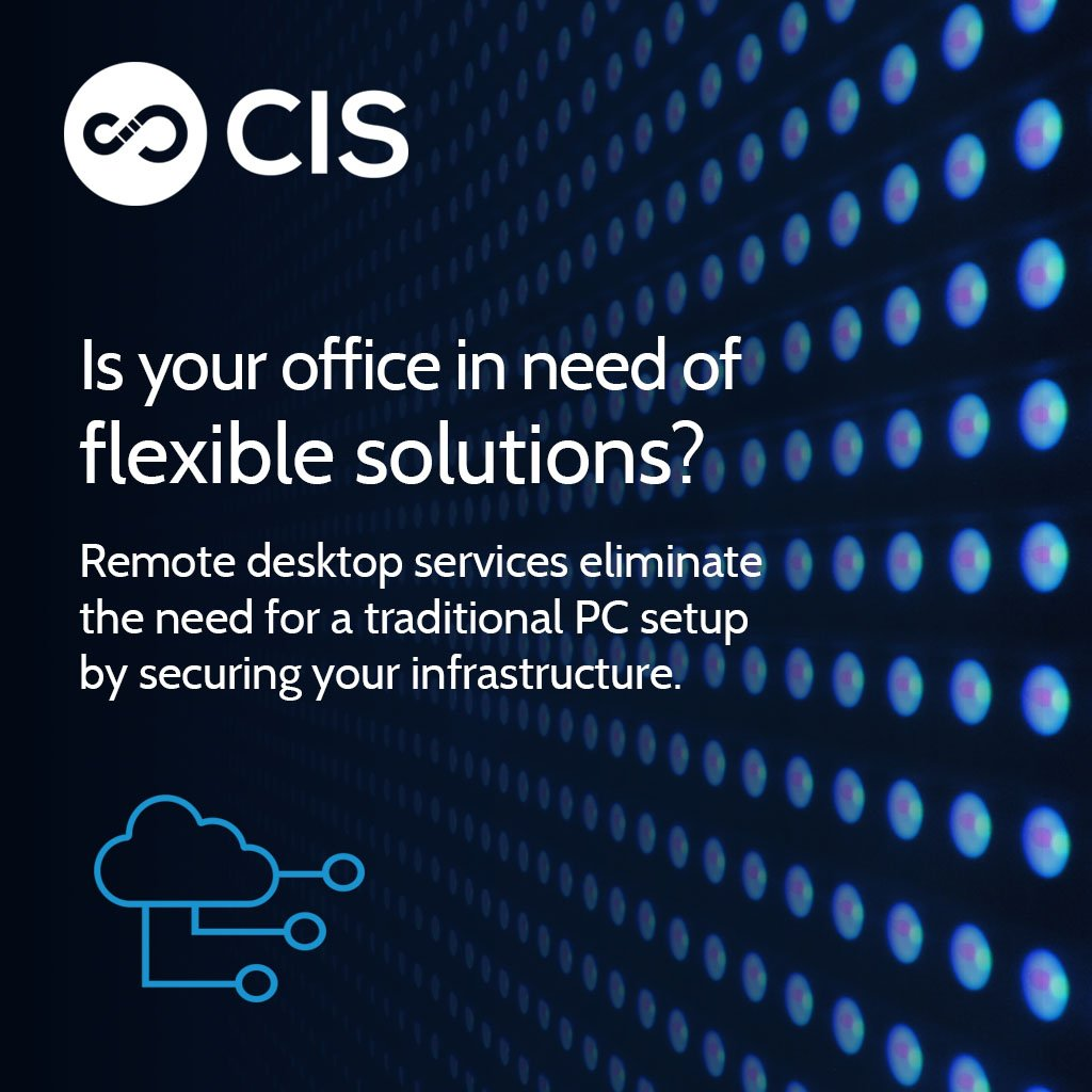 Craving a more flexible solution to your office environment? Remote desktop services eliminate a traditional PC setup by securing your infrastructure in the #cloud, so you can access it whenever you need. Contact us for constant connectivity. #datasecurity