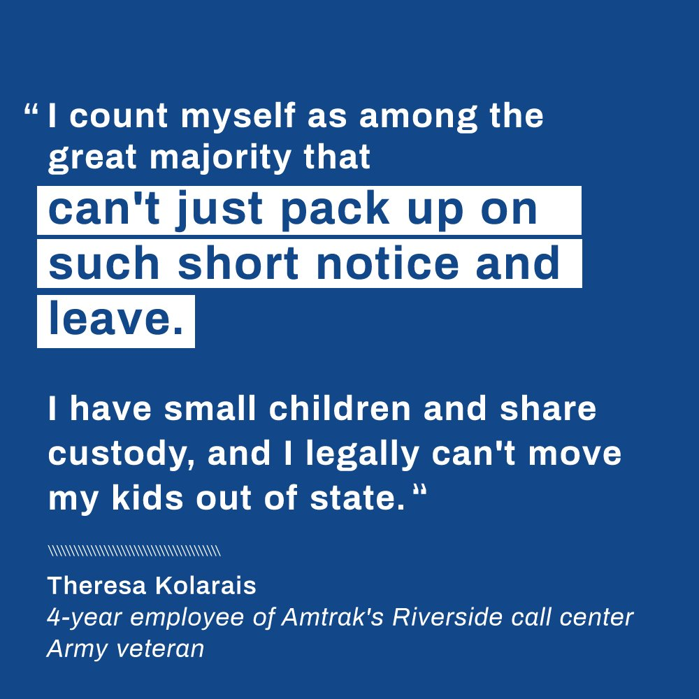 Employees at #Amtrak's call center in Riverside, California have contributed to the carrier's success for decades. They deserve better. #1u