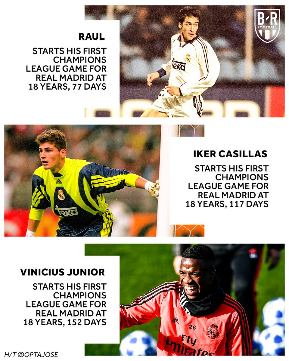 The third-youngest Real Madrid player to ever start a Champions League game.   @vini11Oficial joins some 🔥 company ⚪