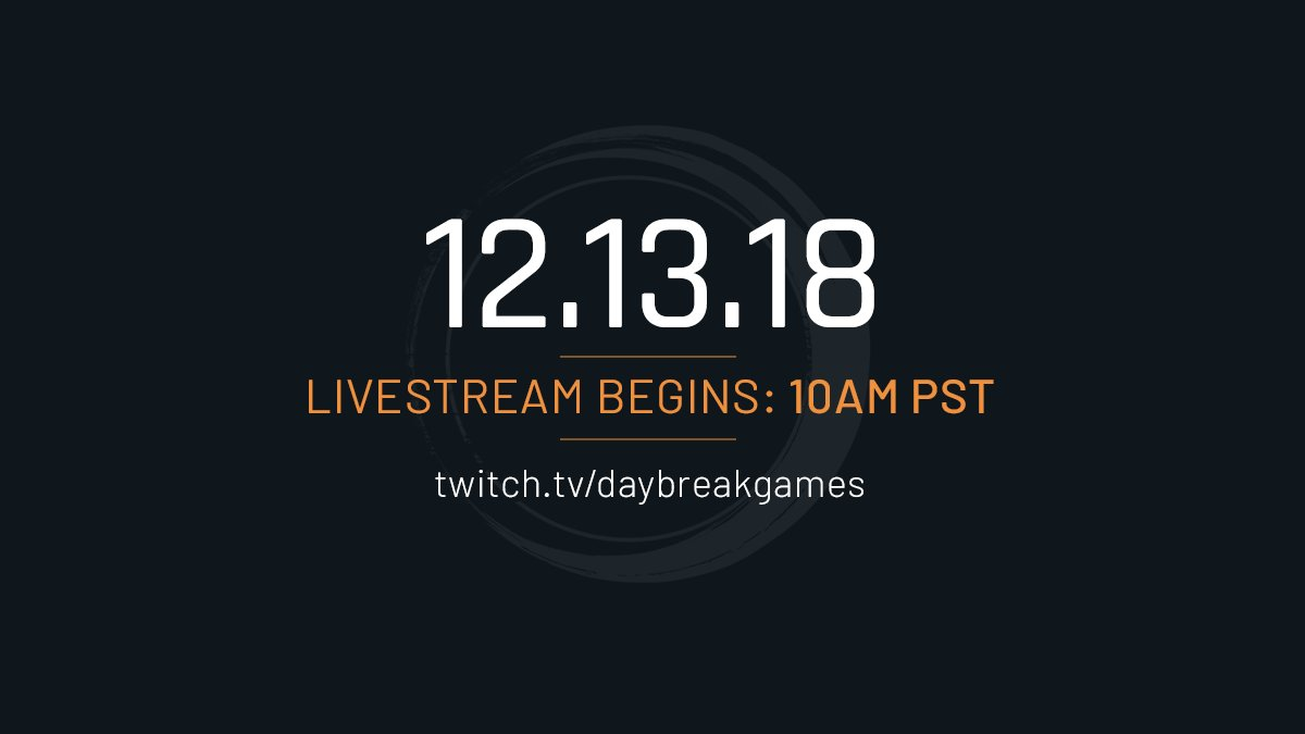 Tune in tomorrow, December 13, at 10 AM PST for a special first-look at a new Daybreak game!     https://www. twitch.tv/daybreakgames  &nbsp;  <br>http://pic.twitter.com/FcSORH2RIb