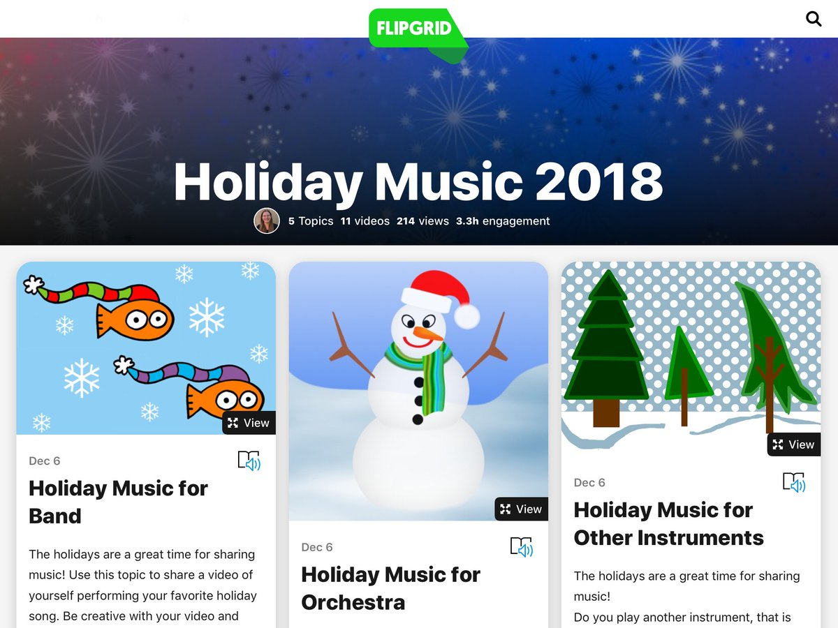 ATS students are having fun with our Holiday Music Flipgrid! Let me know if any other schools would like to join us!  <a target='_blank' href='http://search.twitter.com/search?q=FlipgridFever'><a target='_blank' href='https://twitter.com/hashtag/FlipgridFever?src=hash'>#FlipgridFever</a></a> <a target='_blank' href='https://t.co/Qfi3rcUCjy'>https://t.co/Qfi3rcUCjy</a>