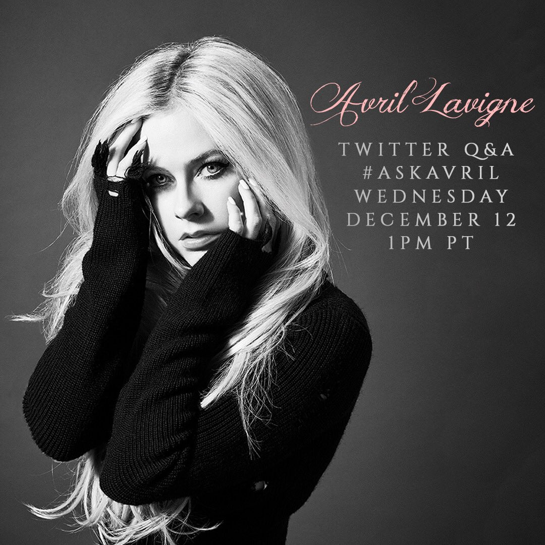 Tweet me your questions using the hashtag #AskAvril and I'll be answering them on @Twitter at 1 pm PT today! ���� https://t.co/vEfhAn1Hpa