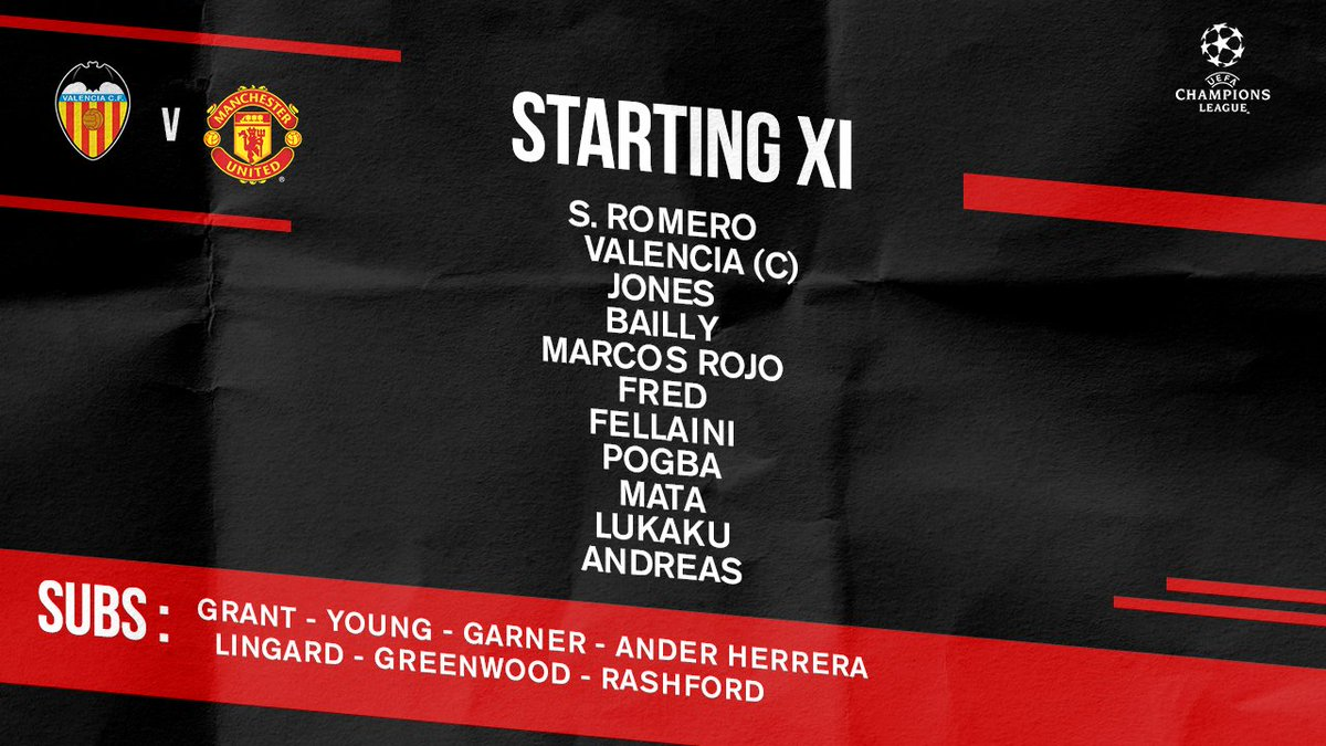 Here's the #MUFC side for tonight's #UCL outing...
