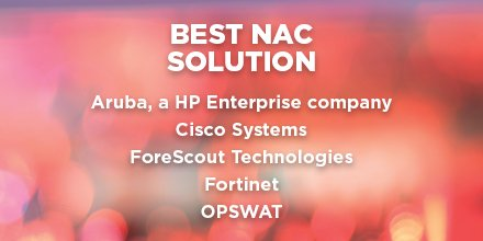 Congratulations to #SCAwards finalists for Best NAC Solution:  https://t.co/xRaQ8UdCt9    @ArubaNetworks @Cisco @ForeScout @Fortinet @OPSWAT