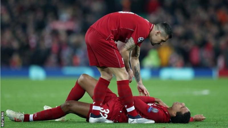 Liverpool defender, Joel Matip: , will be out for up to six weeks with fractured collarbone; he needs surgery on a fractured collarbone suffered in the 1-0 win against Napoli #LFC