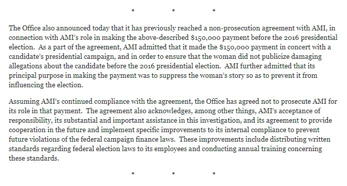 "BREAKING: Prosecutors: AMI, National Enquirer's parent company, admitted it made $150,000 Cohen payment ""in concert"" with ""a candidate's presidential campaign"" in order to ""ensure that the woman did not publicize damaging allegations about the candidate before' 2016 election."