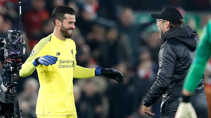The goal Mo scored - what a goal, unbelievable - but the save Ali (Allison) made I have no words for that. That was the lifesaver tonight : Jurgen Klopp #LFC