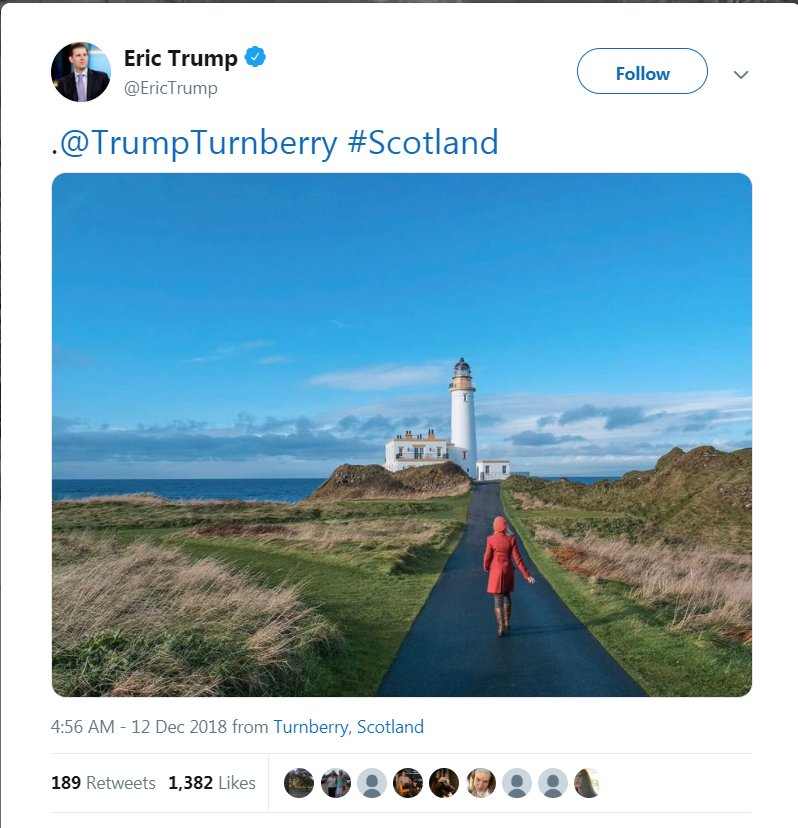Are taxpayers spending money on Eric Trump's trip to Scotland to make money for his father's business again?