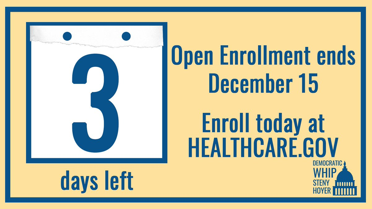 Open enrollment for health coverage ends this Saturday, December 15.  Many Americans are finding increased options and cheaper costs on https://t.co/OqCEr7DFhC. Sign up now to #GetCovered for 2019.