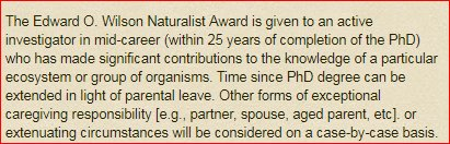 Nominations for the E. O. Wilson Naturalist Award are due January 15. Please note that mid-career has now been defined as within 25 years post PhD (and extenuating circumstances can extend that. amnat.org/announcements/…