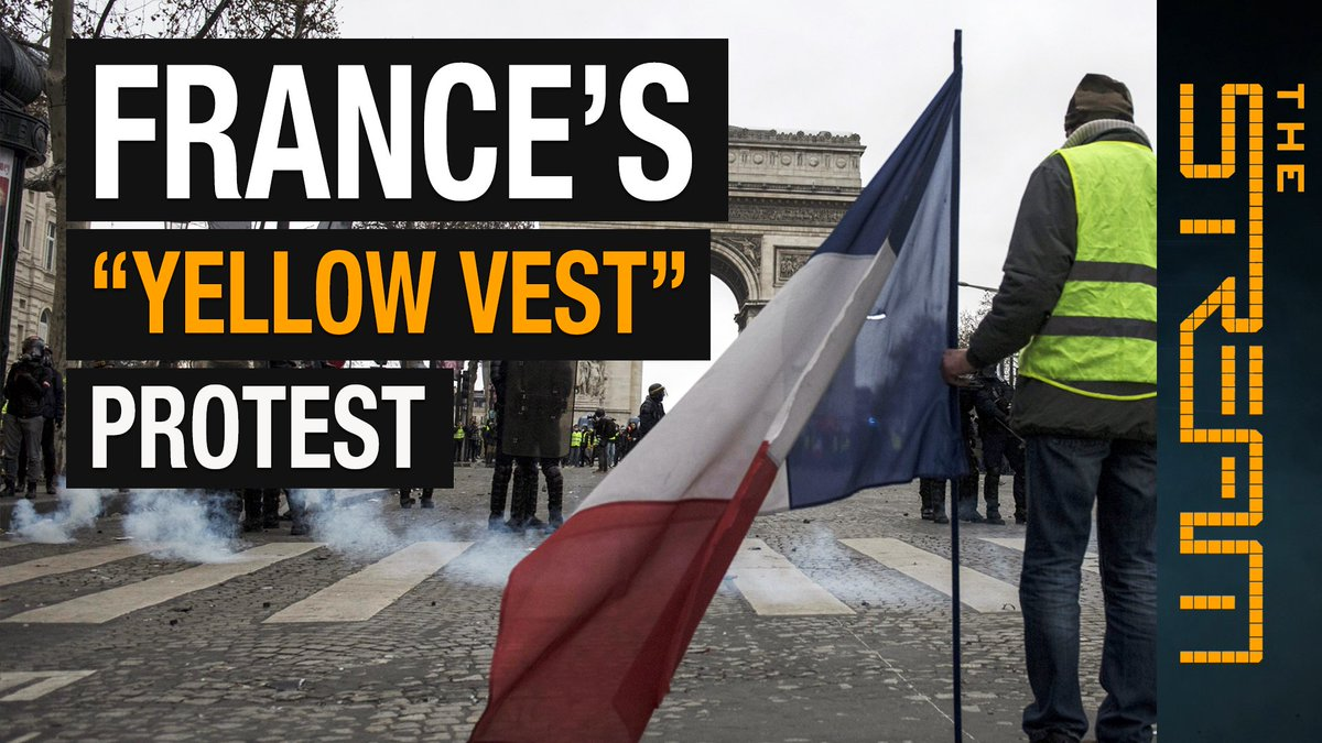"""What do the #GiletsJaunes – or """"yellow vests"""" – protests mean for France? @AJStream explores the reasons why French citizens nationwide are participating in anti-government rallies. Join the discussion on YouTube: aje.io/q2vgu"""