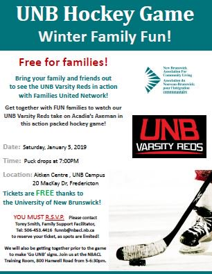 Hey #Fredericton ! Join us for a hocky game @unbfredericton on Saturday, January 5, 2019! Puck drops at 7pm! #Inclusion<br>http://pic.twitter.com/Q3SEIN9IjX