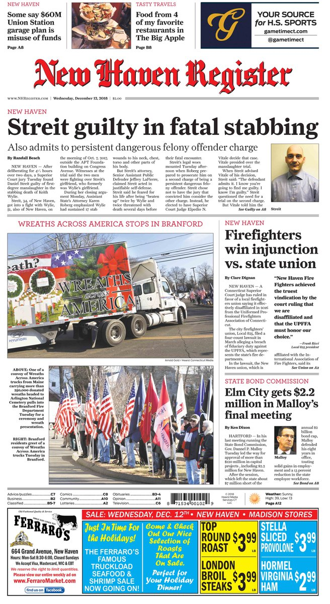 New Haven Fire Fighters Vindicated: Firefighters win injunction vs. State Union, The UPFFA . Front page, above the fold in todays New Haven Register @nhregister @CTMirrorPaz @attorneysegar @YankeeInstitute @surf0766 @SuzeBates @newsgirlct