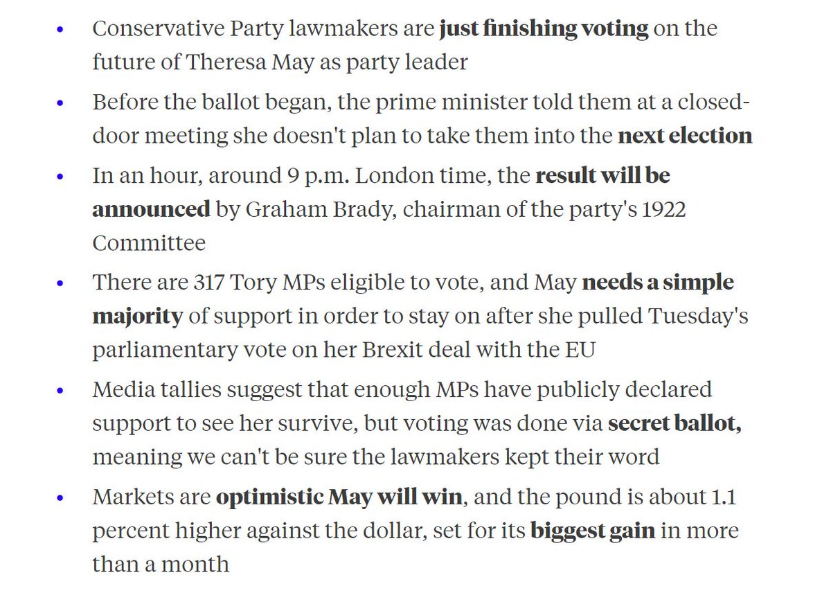 Theresa May will learn shortly whether she's won her confidence vote. Here's a recap of where things stand right now https://t.co/uv7a5xrk0Q
