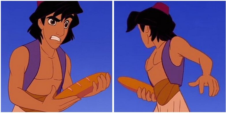It just occurred to me how weird it is that Disney&#39;s Aladdin is running around with what looks like a baguette and not like... a flatbread? <br>http://pic.twitter.com/YaxVvRh7V7