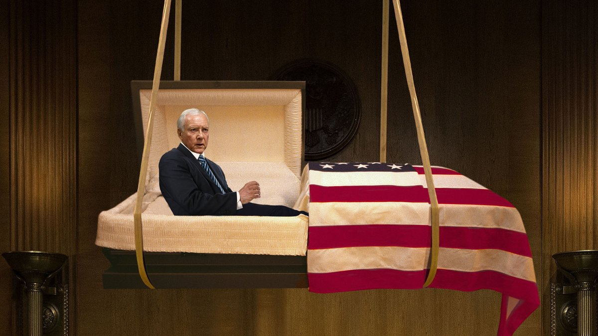Orrin Hatch Delivers Farewell Address From Coffin Descending Into Plot Dug In Middle Of Senate Floor  https:// trib.al/a0QqQVh  &nbsp;  <br>http://pic.twitter.com/DOSWY0PBEI