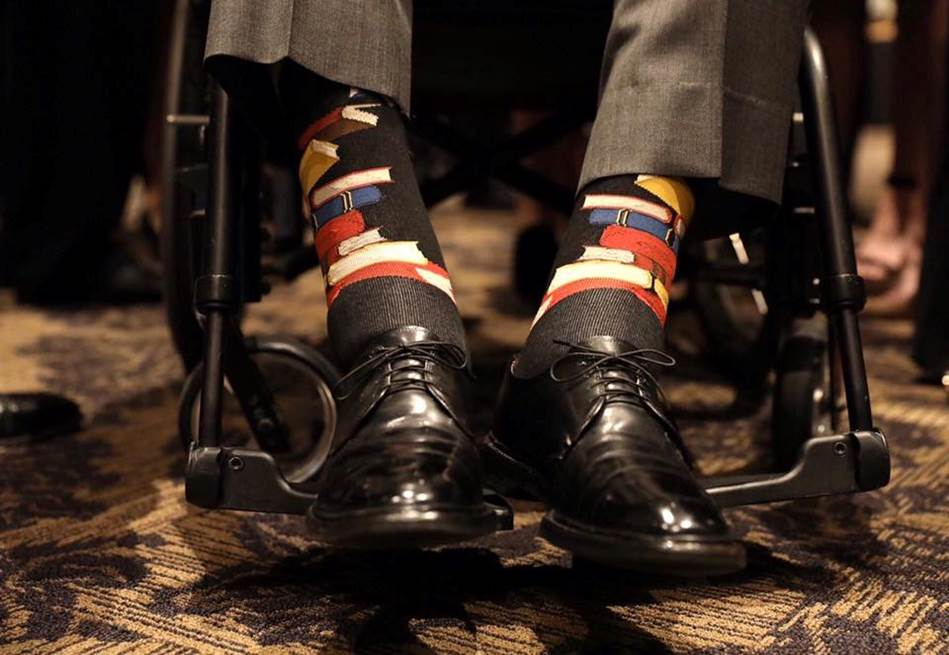 President George H. W. Bush often expressed his personality through his socks. He donned socks illustrated with books in honor of his late wife, Barbara. One of Barbara's lifelong passion projects was fighting illiteracy. #Remembering41