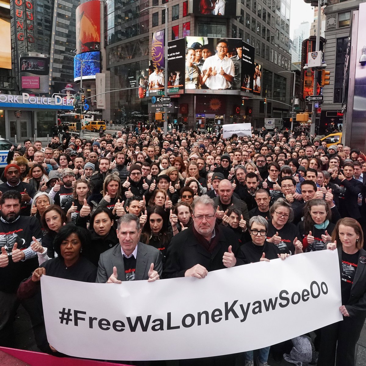 This is the EPIC @Reuters New York photo taken today in @TimesSquareNYC in front of @thomsonreuters. Please share it far and wide.  The time has come to #FreeWaLoneKyawSoeOo.