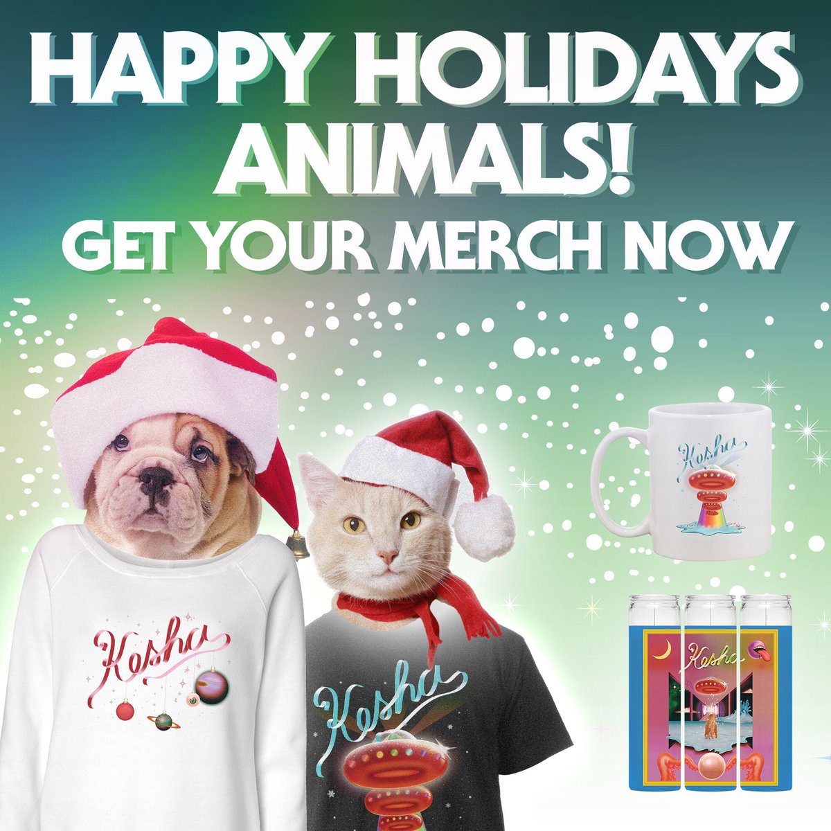 Happy (almost) holidays, animals!! I have some special limited edition holiday merch for you that you can get at https://t.co/GKGCFK5T0s  👽👻🌈💜⚡️ *This Friday is the last day to order to guarantee delivery before Christmas 🎄🎁💕