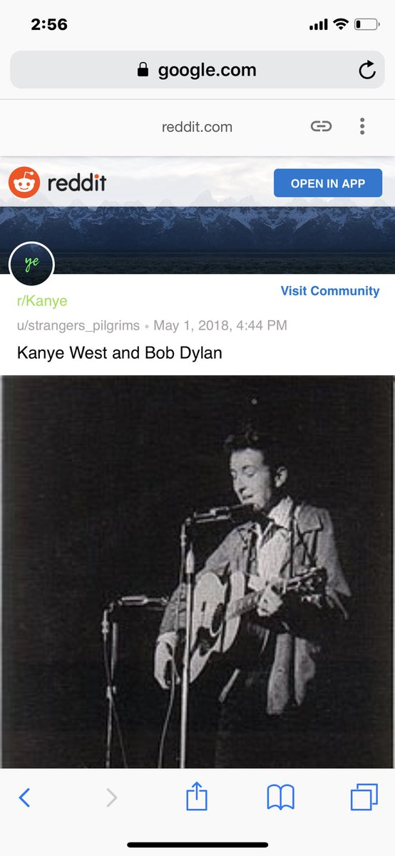 An r/Kanye post from earlier this year about Kanye and Dylan parallels.<br>http://pic.twitter.com/IywTqOh2Rh