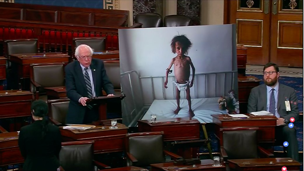 The eyes of the world are watching the Senate today. Shortly, we will vote to end U.S. support for the disastrous Saudi-led war in Yemen. Watch my speech here:  https://www. facebook.com/senatorsanders /videos/218411925738004 &nbsp; … <br>http://pic.twitter.com/7QaCdhSYQ5