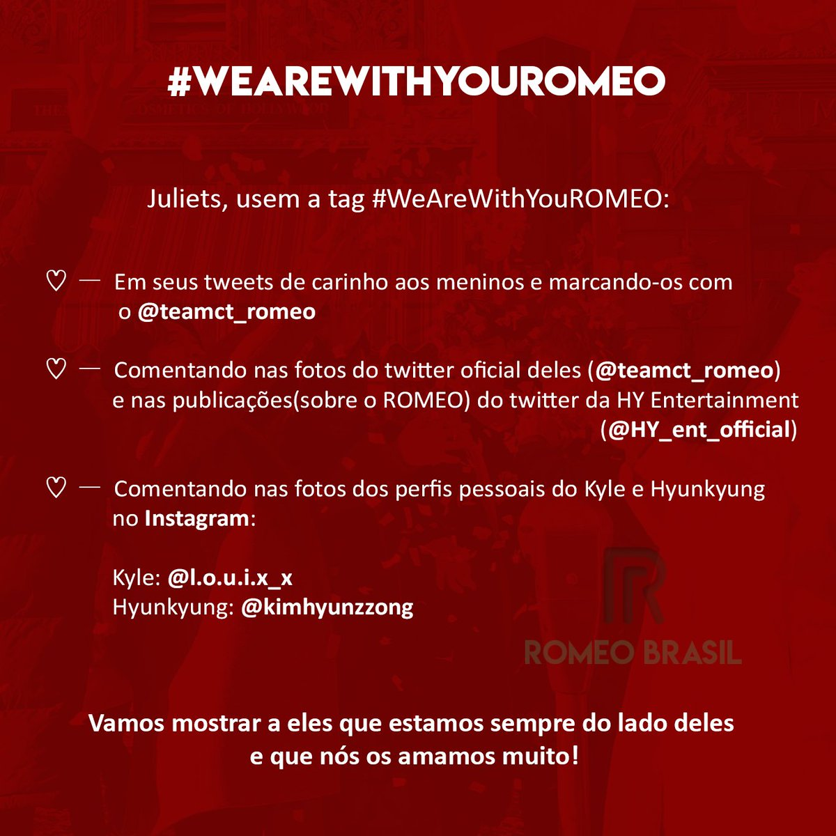[ #PROJETO ] Juliets, usem a tag #WeAreWithYouROMEO:<br>http://pic.twitter.com/6ycEloYl2r