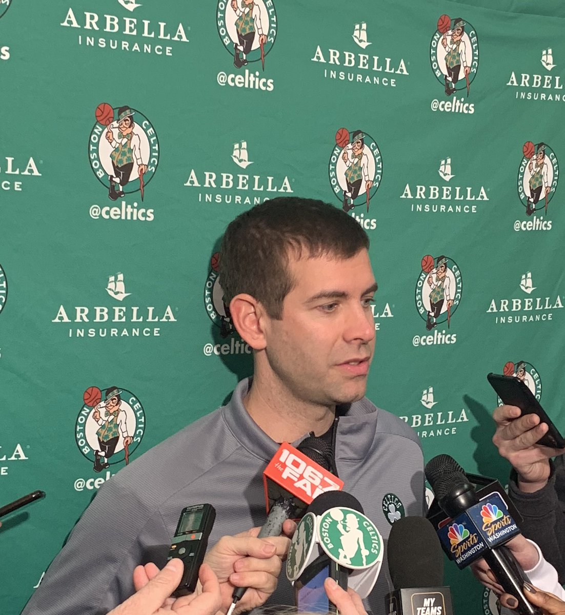 """Those last two shots were amazing,"" Brad Stevens says of Kyrie's late 3s. ""The one from in front of our bench was a joke."""