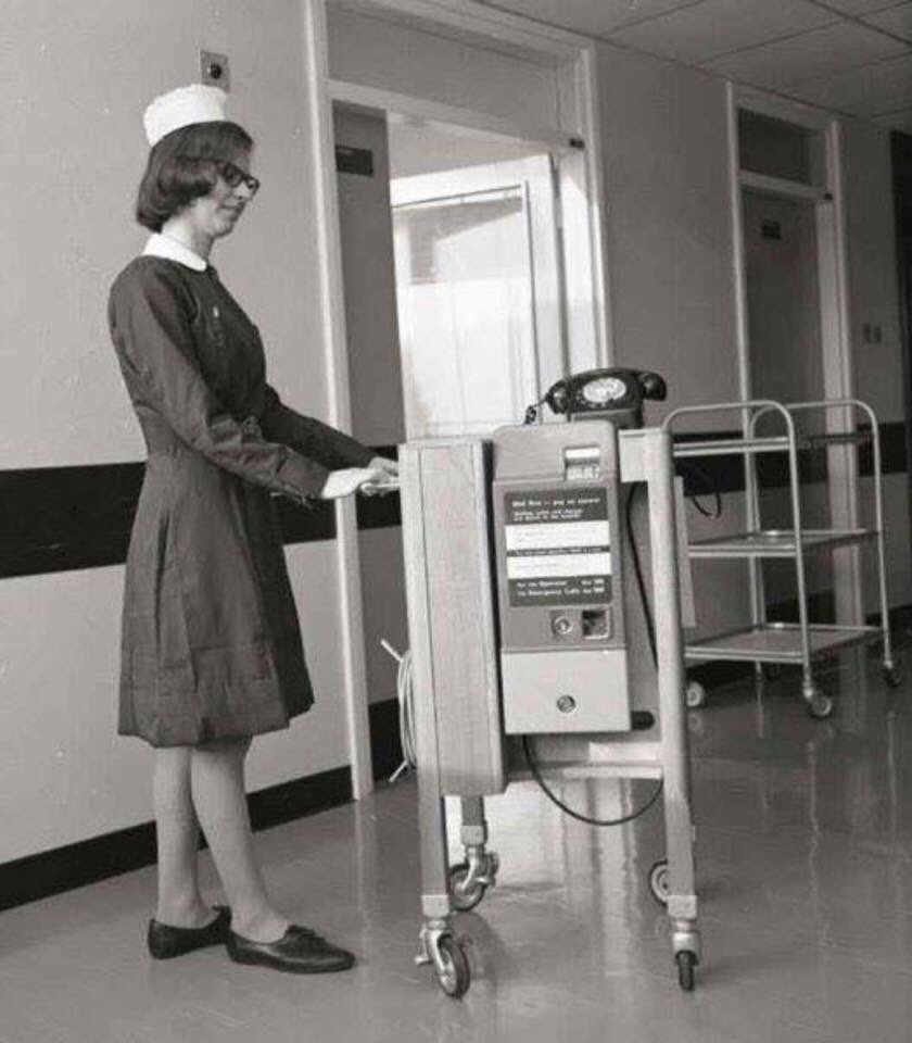 Who remembers wheeling the pay phone from the ward day room to patient's bed. How times have changed