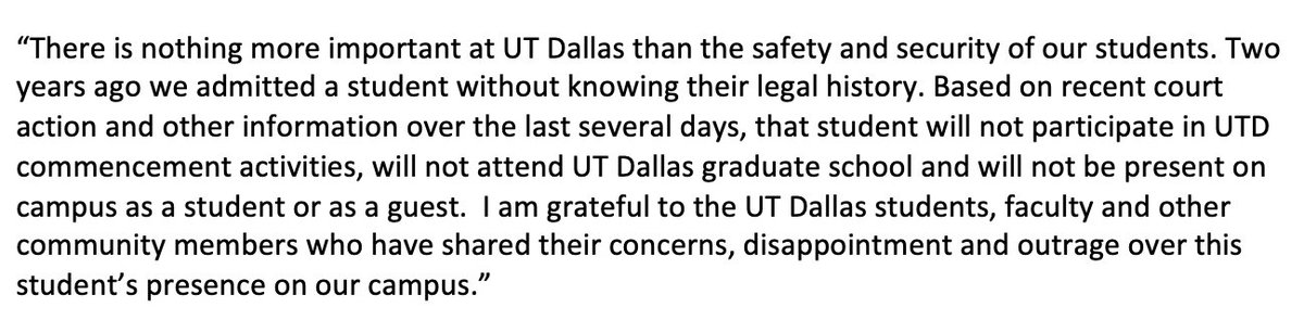 Statement from University of Texas at Dallas President Richard C. Benson: <br>http://pic.twitter.com/IlcvZTs6M3