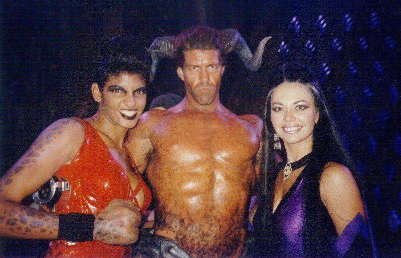 Sheeva (Marjean Holden), Motaro (Deron McBee), and Sindel (Musetta Vander) on the set of 1997s Mortal Kombat: Annihilation