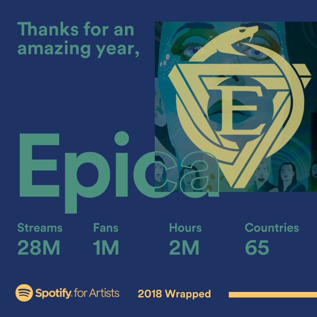 Thank you for all the love and support through @Spotify! Listen and follow #EPICAs official discography playlist at open.spotify.com/user/epicaband… #Spotify #2018ArtistWrapped #2018Wrapped