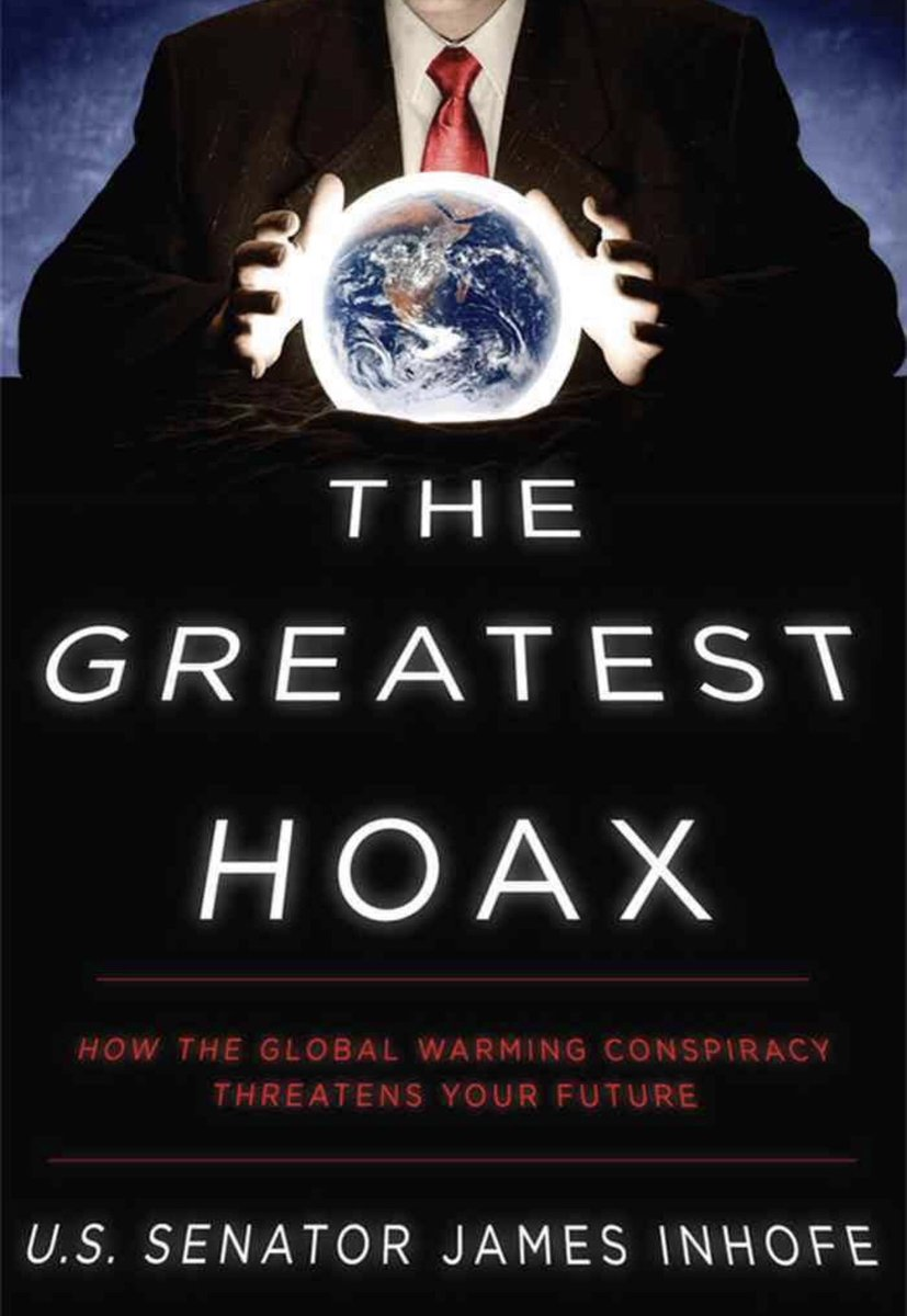 """Also note James Inhofe while insider trading Raytheon &amp; Defense contracts also wrote  """"The Greatest Hoax: How the Global Warming Conspiracy Threatens Your Future"""" @GOP will sell out their own kids for #fossilfuels &amp; <br>http://pic.twitter.com/nqq5kUnpvV"""