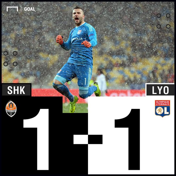 The final spot in the last 16 goes ! 🙌 The Ligue 1 side secured the result they needed at Shakhtar to clinch second place in Group F Photo