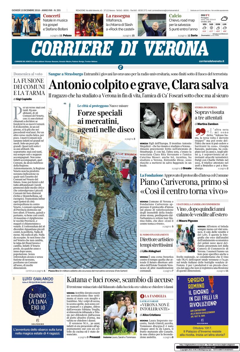 la prima pagina del Corriere di Verona: buona lett...