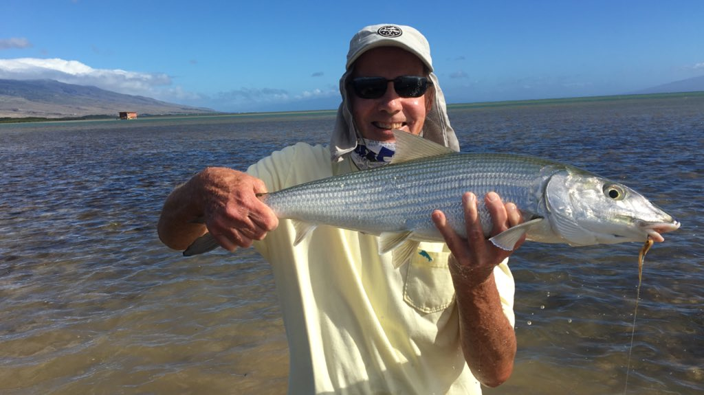 Molokai size bonefish! I love this place...the flats are pristine for miles....the entire island is like going back in time...and Clay Ching is the best guide ever😃