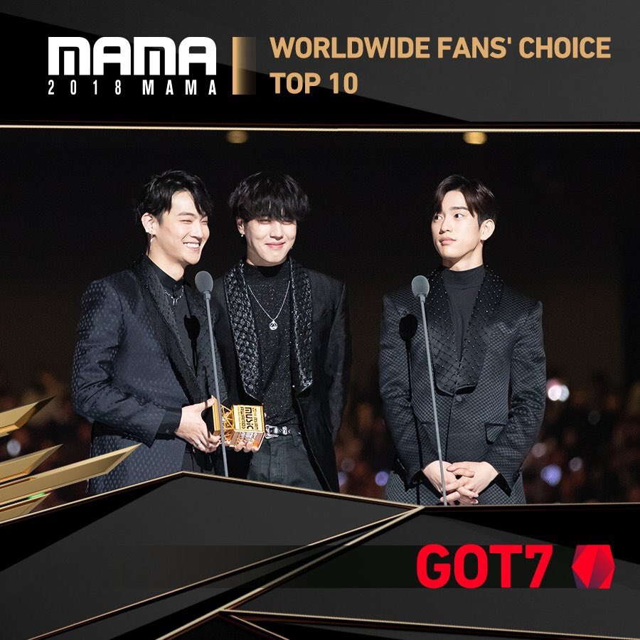 Congratulations @GOT7Official for winning the Worlwide Fans Choice - Top 10 on MAMA Japan 2018!   #GOT7  #PresentYOU  #Lullaby  #Miracle #PresentYOUandME<br>http://pic.twitter.com/6vacKz5i46