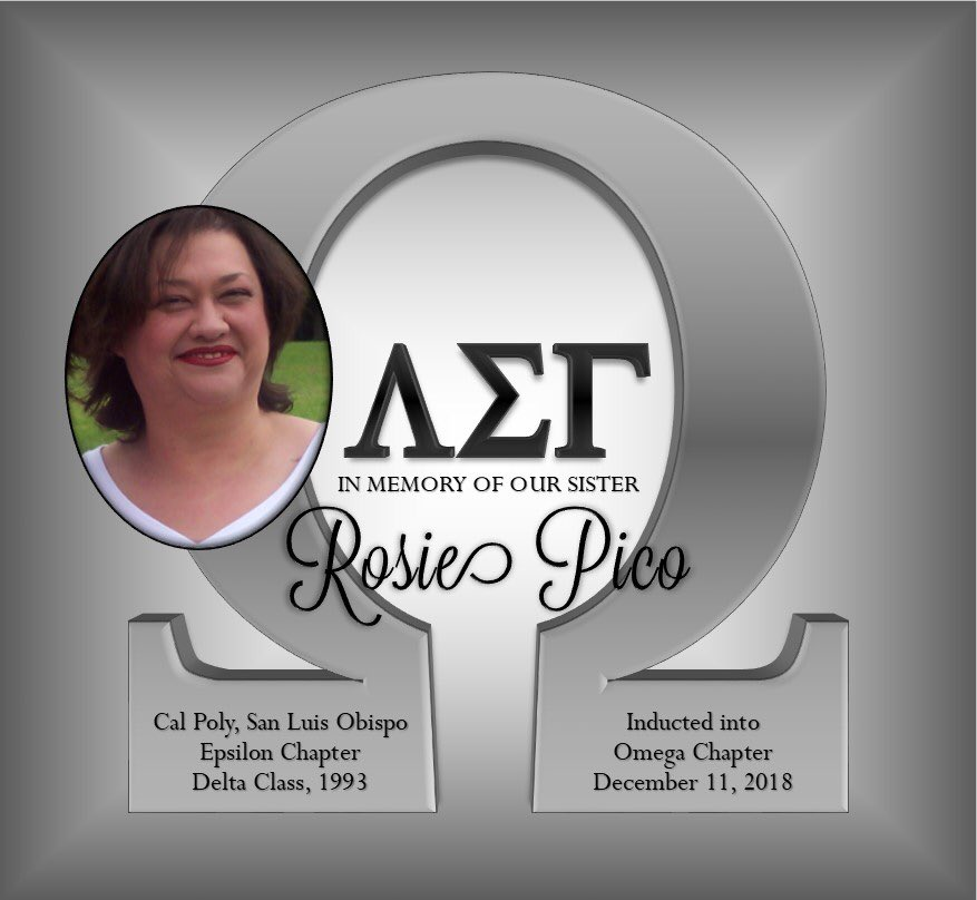 It is with a sad heart we share the news that our beloved sister - Rosie Pico, Epsilon Delta, has passed on into our Omega Chapter. We appreciate Rosie for all that she has contributed to our sisterhood, especially our Epsilon chapter. Rosie will be missed. #ΛΣΓ #UntilOmega #Ω<br>http://pic.twitter.com/AsVnChZ8dP