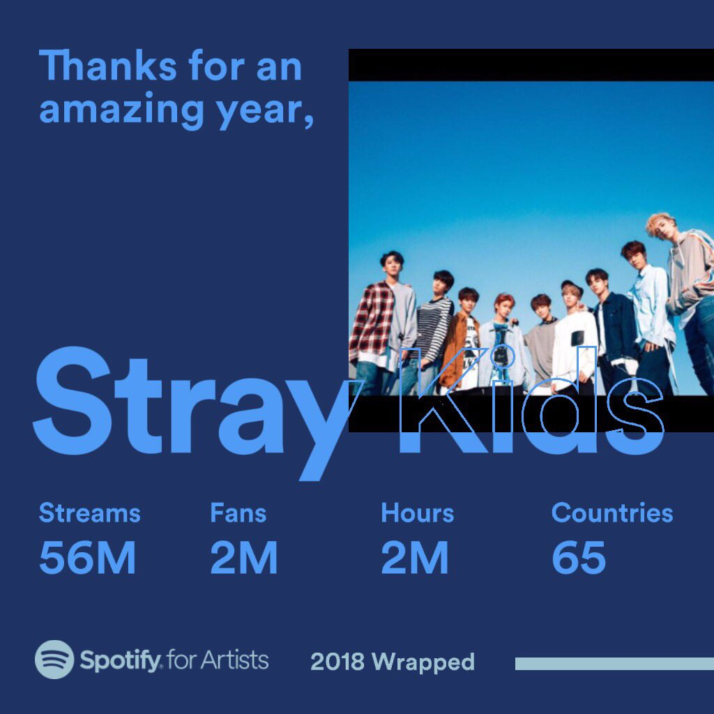 BIG thanks to STAY for such a wonderful year!🖤 #StrayKids #스트레이키즈 #2018ArtistWrapped @spotifyartists