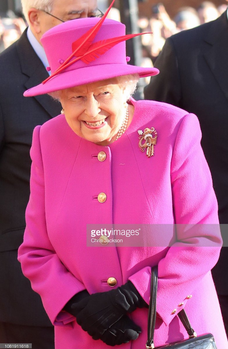 Queen Elizabeth II arrives at the Honourable Society of Lincoln's Inn this morning @GettyImages