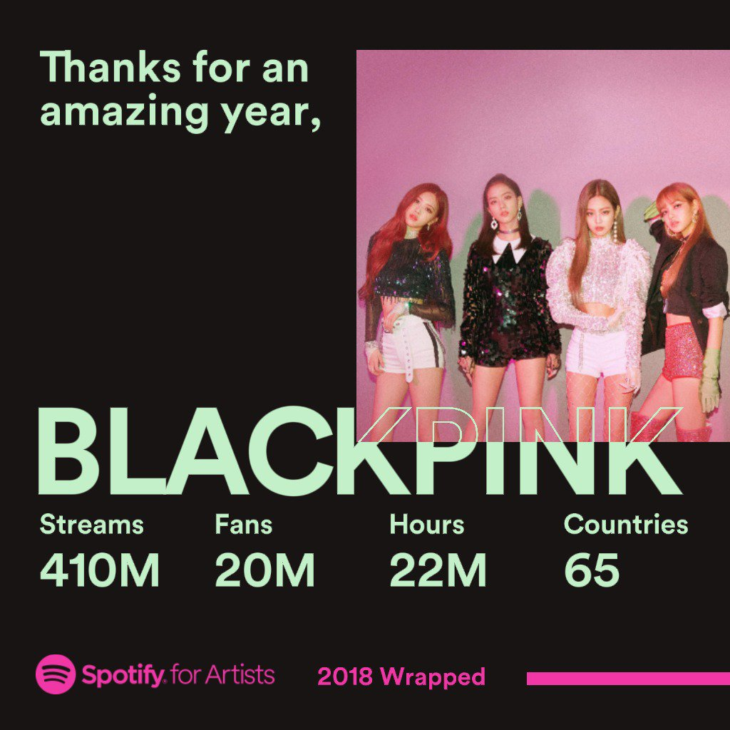 #BLACKPINK Thanks for an amazing year, 2018 2018 was a fantastic year for us. Thank you BLINK for supporting and listening our music from all around the world. Thanks @Spotify @Spotifyartists #2018artistWrapped #YG