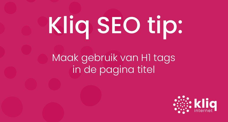 test Twitter Media - Kliq #SEO tip 3: Maak gebruik van H1 tags in de pagina titel. Google analyseert namelijk iedere pagina van een website om te beoordelen waar die pagina over gaat. Let er wel op dat er per pagina maar een keer een H1 mag voorkomen van #Google. https://t.co/5KIxAyZff9