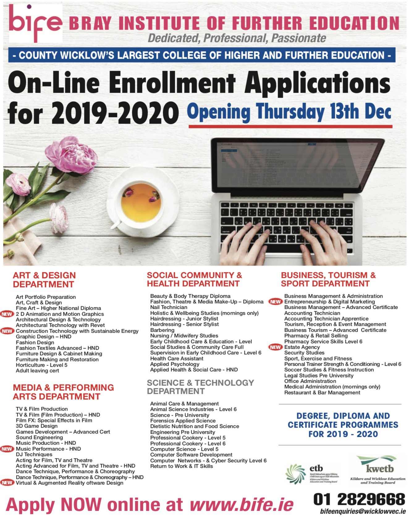 Bray Ie On Twitter Brayinstitutefe S Online Enrolment Applications For 2019 20 Opens Today Read More Here Https T Co Sg4ak8lyam