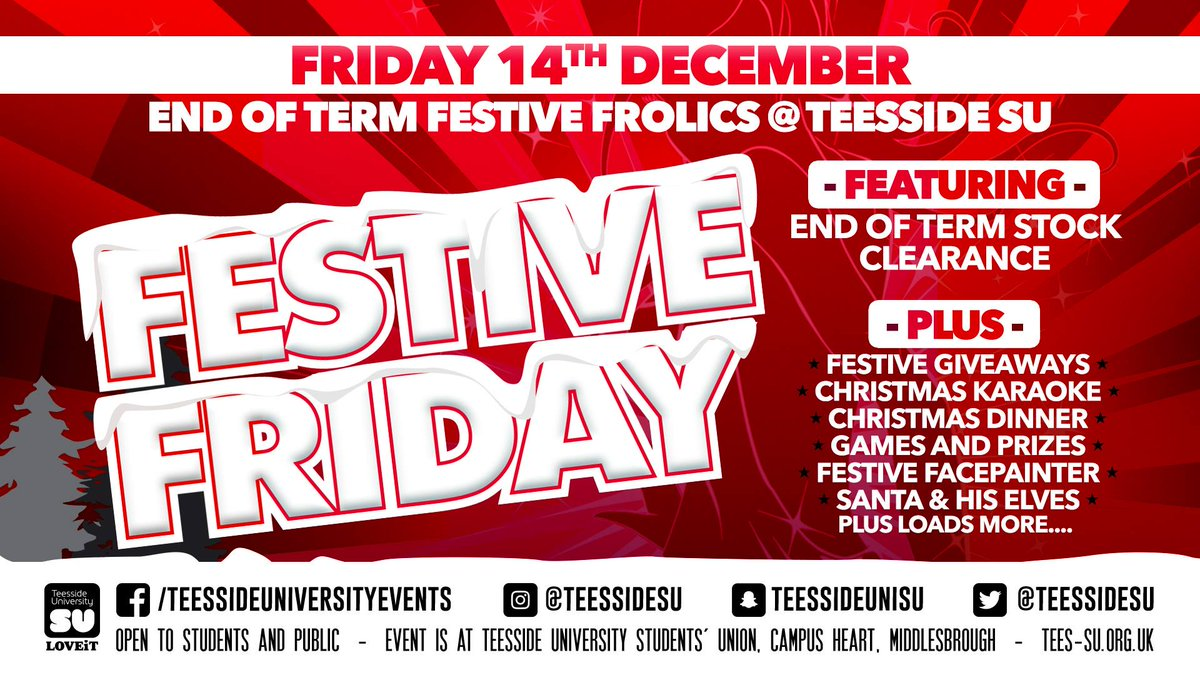 ... (while stocks last) - Santa dropping his with his elves - Top tunes from our resident DJs >>> http://facebook.com/teessidesu/posts/10156076801692934 … ...